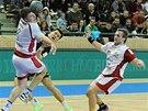 Jan Landa a Tomáš Hes (vpravo) z Lovosic brání v utkání v Plzni.