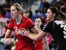Česká házenkářka Hana Martinková v utkání proti Černé Hoře.