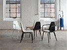 Židle Tram využívá klasickou technologii ručního ohýbání bukového dřeva. Sedák