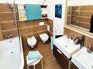 Koupelna: keramické obklady série Defile (RAKO), nábytková umývadla Twins –