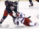 "Matt Calvert z Columbusu poslal ""k ledu"" Ricka Nashe z New York Islanders."
