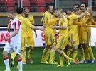 Fotbalisté Jihlavy se radují z gólu v zápase na stadionu Slavie.