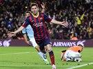Lionel Messi z Barcelony se raduje, pr�v� se st�elecky prosadil proti Vigu.
