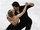 Tanešní pár Kaitlyn Weaverová a Andrew Poje na MS krasobruslařů v Saitamě.