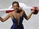 Japonská krasobruslařka Mao Asadaová slaví triumf na světovém šampionátu v její...
