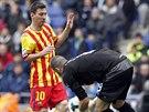 K TOMU MÍČI TĚ NEPUSTÍM! Gólman Espaňolu Barcelona Kiko Casilla (vpravo)...