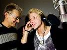 Tomáš Klus a Jan Svěrák při natáčení hudby k filmu Tři bratři (26. března 2014)
