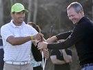 Bývalý desetibojař Roman Šebrle a jeho golfový trenér David Carter (vpravo).