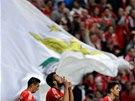 Ezequiel Garay z Benfiky Lisabon oslavuje gól proti Tottenhamu.