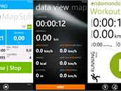 Mobilní aplikace, jedna vedle druhé. Zleva Runtastic, Sports Tracker,