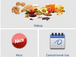 Úvodní stránka on-line aplikace pro nakupování