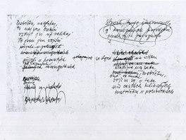 Karel Kryl: rukopis písně Bratříčku zavírej vrátka