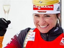 Německá biatlonistka Andrea Henkelová si po posledním závodě své kariéry...
