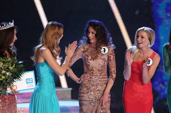 Česká Miss World 2014 Tereza Skoumalová při vyhlášení svého jména (29. března...