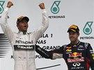 UZNALÉ POPLÁCÁNÍ. Rozzářený Lewis Hamilton zvedá ruce po triumfu ve Veké ceně
