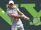 Novak Djokovič ve finále turnaje v Miami, kde porazil Rafaela Nadala.