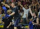 Děčínská lavička slaví během derby s Ústím.