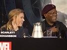 Scarlett Johanssonová a Samuel L. Jackson na tiskové konferenci před londýnskou...