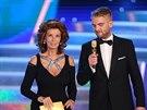 Předsedkyně poroty soutěže Česká Miss 2014 Sophia Lorenová a moderátor Libor...