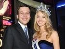 Česká Miss 2014 Gabriela Franková a její přítel Roman (29. března 2014)