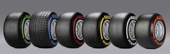 Připraveno je šest truhů pneumatik. Liší se použitím za mokra a sucha  a...