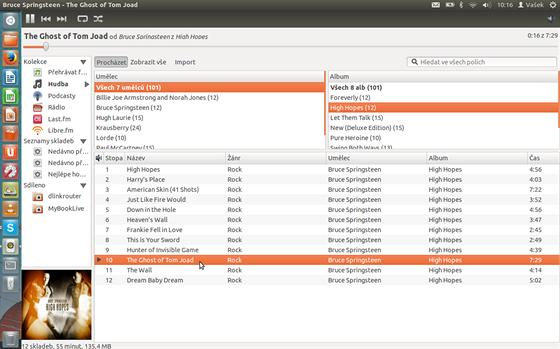 Hudební přehrávač Rhythmbox nabízí jednoduché a přehledné rozhraní.