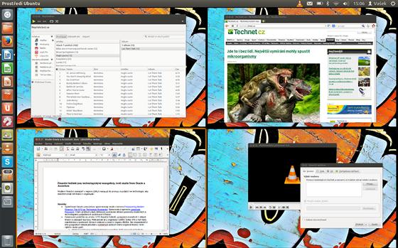 V Linuxu m�te k dispozici �tvero pracovn�ch ploch, mezi kter�mi snadno...