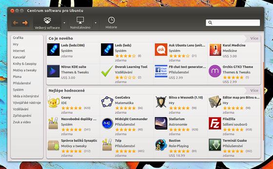 """Aplikace můžete vybírat v obchodu """"Centrum softwaru pro Ubuntu"""", což je obdoba..."""