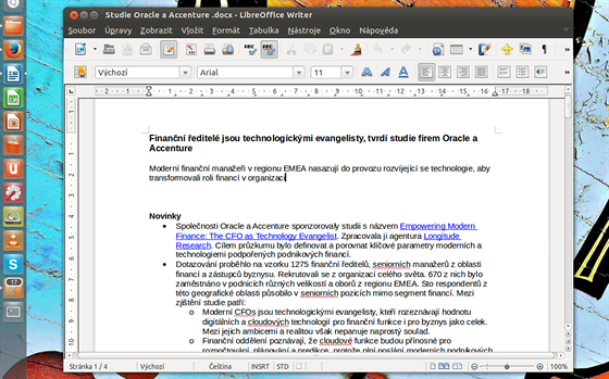 Moderní rozhraní Ribbon u Libre Office samozřejmě nečekejte, uspořádání...