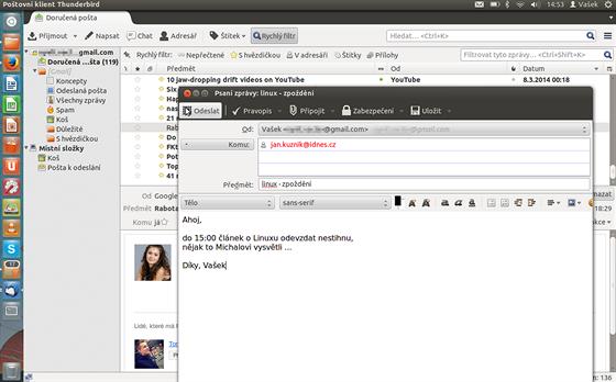Poštovní klient Thunderbird je dostatečně intuitivní i pro úplné začátečníky.
