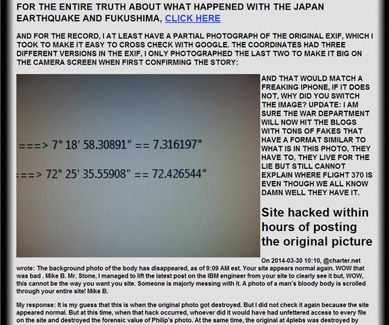 """""""Původní EXIF mi hacker smazal, ale tady jsem si alespoň vyfotil ty souřadnice,"""" tvrdí Stone."""