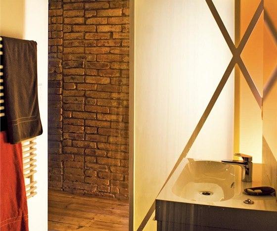 Poloprůsvitné barevné panely vpouštějí do koupelny denní světlo.