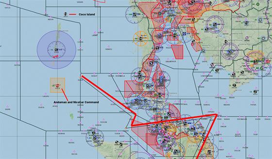 Pravděpodobná trasa ztraceného Boeingu 777 malajsijských aerolinií.