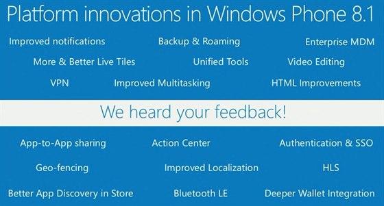 Vylep�en� ve Windows Phone 8.1.