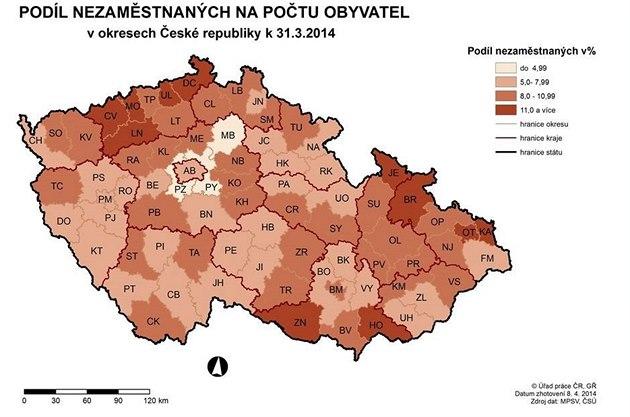 Nezaměstnanost v ČR za březen 2014.