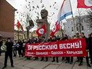 Proruská demonstrace v Charkově (7. dubna 2014)