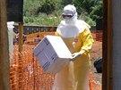"""""""Stojíme tváří v tvář epidemii eboly dosud nevídaného rozsahu,"""" říká..."""