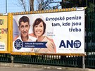 Billboard politického hnutí ANO před květnovými volbanmi do Evropského...