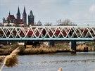 Zvedací železniční most ve středočeském Kolíně (březen 2014)