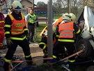 Vážná dopravní nehoda se stala v obci Kozmice na Hlučínsku. (7. dubna 2014)