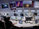 Řídicí středisko ESA v Darmstadtu v Německu. Odtud autor sledoval start...