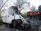 Dodávka zůstala po čelním střetu s kamionem nedaleko Žarošic na Hodonínsku...