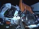 Nehoda kamionů zastavila provoz na dálnici D1.