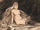 Félicien Rops: Radostné rýmy, Žena usazená na kožešině, 1881, kresba