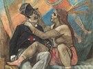 Félicien Rops: Divoščiny lásky, kresba