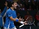 NADŠENÍ. Kazašský tenista Alexandr Nědovjesov ve čtvrtfinále Davis Cupu proti