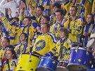 Fanou�ci hokejist� Zl�na v akci.