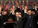 Vedení strany Jobbik oslavuje spuštění předvolební kampaně v 15. února v...