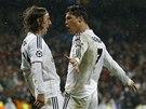BÍLÝ BALET. Cristiano Ronaldo (vpravo) slaví gól v síti Borussie Dortmund