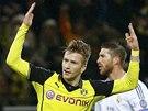 Marco Reus z Dortmundu slav� g�l proti Realu Madrid.